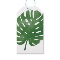 Watercolor palm leaves pattern gift tags