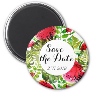 Watercolor palm leaves watermelon Save the Date Magnet