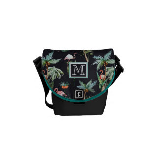 Watercolor Palm Pattern   Add Your Initial Messenger Bag