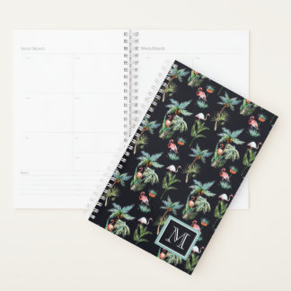 Watercolor Palm Pattern | Add Your Initial Planner