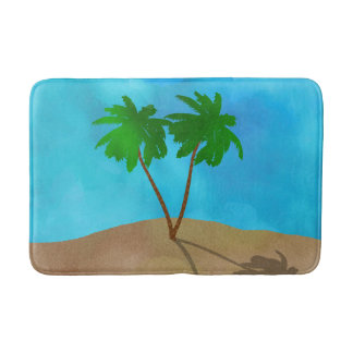 watercolor palm tree beach scene collage bathroom mat
