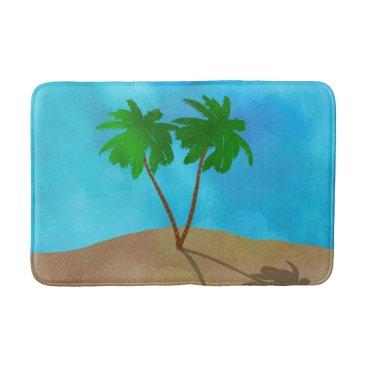 Beach Themed Watercolor Palm Tree Beach Scene Collage Bathroom Mat