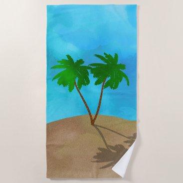 Beach Themed Watercolor Palm Tree Beach Scene Collage Beach Towel