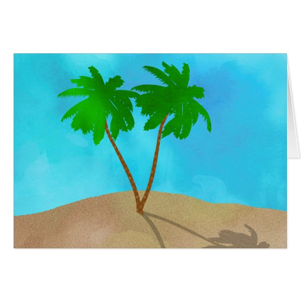 Watercolor Palm Tree Beach Scene Collage Card