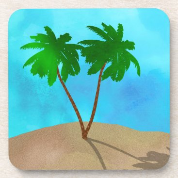 Beach Themed Watercolor Palm Tree Beach Scene Collage Coaster