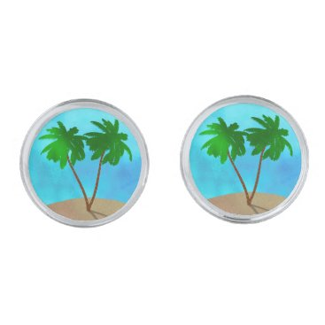 Beach Themed Watercolor Palm Tree Beach Scene Collage Cufflinks