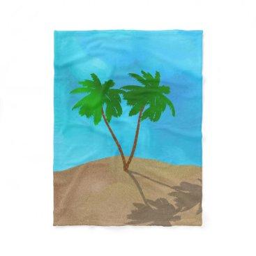 Beach Themed Watercolor Palm Tree Beach Scene Collage Fleece Blanket