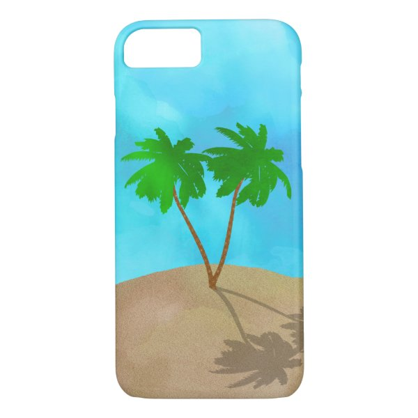 Watercolor Palm Tree Beach Scene Collage iPhone 8/7 Case