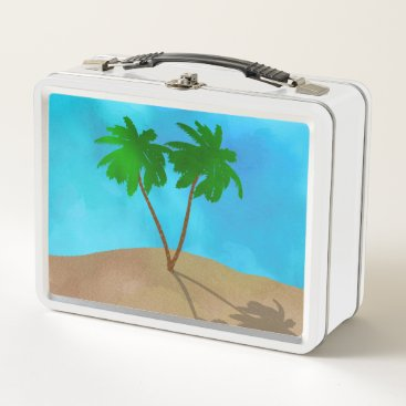 Beach Themed Watercolor Palm Tree Beach Scene Collage Metal Lunch Box