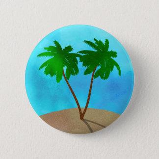 Watercolor Palm Tree Beach Scene Collage Pinback Button
