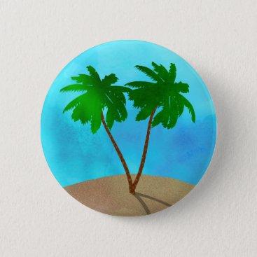 Beach Themed Watercolor Palm Tree Beach Scene Collage Pinback Button