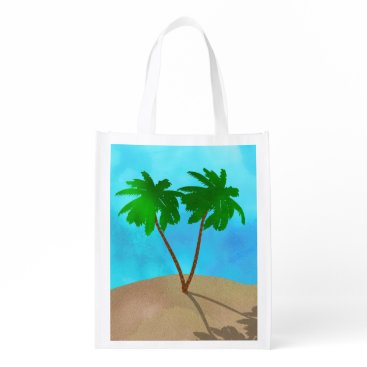 Beach Themed Watercolor Palm Tree Beach Scene Collage Reusable Grocery Bag