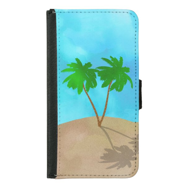 Watercolor Palm Tree Beach Scene Collage Samsung Galaxy S5 Wallet Case