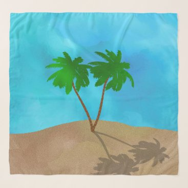 Beach Themed Watercolor Palm Tree Beach Scene Collage Scarf