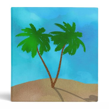 Beach Themed Watercolor Palm Tree Collage Binder