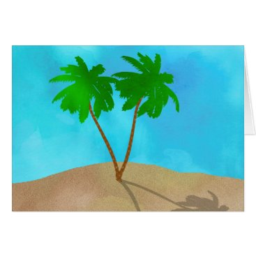 Beach Themed Watercolor Palm Tree Collage Card