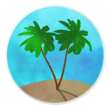 Beach Themed Watercolor Palm Tree Collage Ceramic Knob