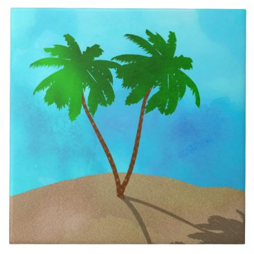 Beach Themed Watercolor Palm Tree Collage Ceramic Tile