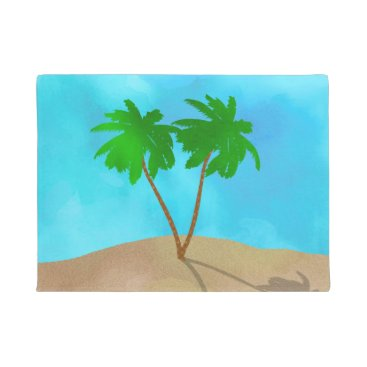 Beach Themed Watercolor Palm Tree Collage Doormat