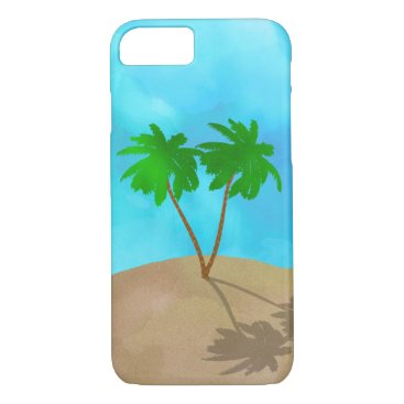 Beach Themed Watercolor Palm Tree Collage iPhone 7 Case