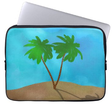 Beach Themed Watercolor Palm Tree Collage Laptop Sleeve