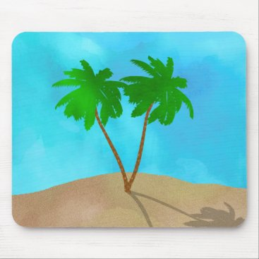Beach Themed Watercolor Palm Tree Collage Mouse Pad