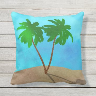 Beach Themed Watercolor Palm Tree Collage Outdoor Pillow