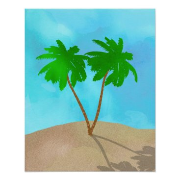 Beach Themed Watercolor Palm Tree Collage Poster