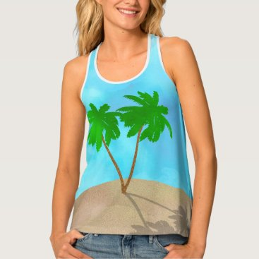 Beach Themed Watercolor Palm Tree Collage Tank Top