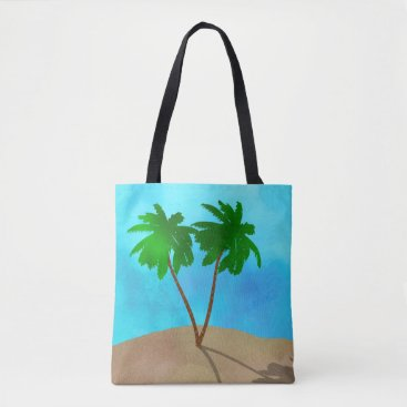 Beach Themed Watercolor Palm Tree Collage Tote Bag
