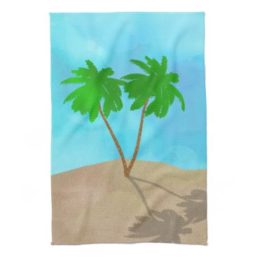 Beach Themed Watercolor Palm Tree Collage Towels