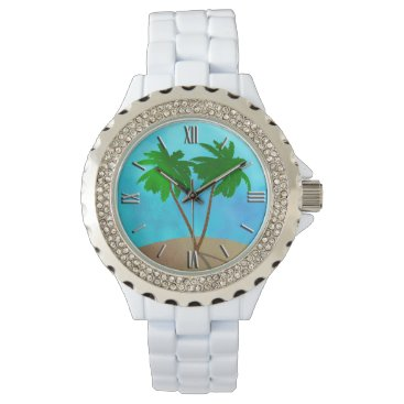 Beach Themed Watercolor Palm Tree Collage Wrist Watch