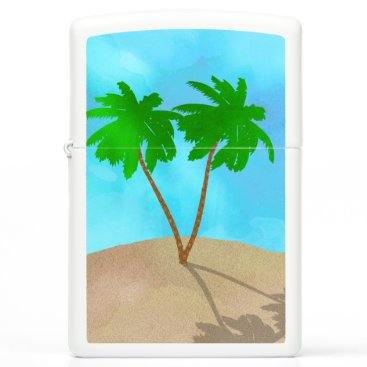 Beach Themed Watercolor Palm Tree Collage Zippo Lighter