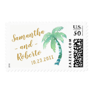 Watercolor Palm Tree Destination Name & Date Stamp