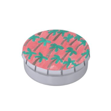 Beach Themed Watercolor Palm Tree Pattern Jelly Belly Candy Tins