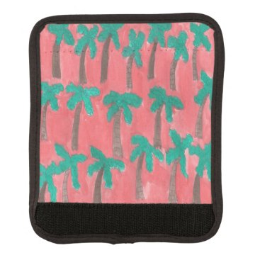 Beach Themed Watercolor Palm Tree Pattern Luggage Handle Wrap