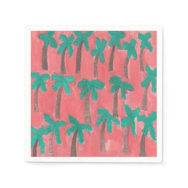 Beach Themed Watercolor Palm Tree Pattern Paper Napkin