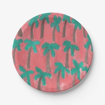 Beach Themed Watercolor Palm Tree Pattern Paper Plate
