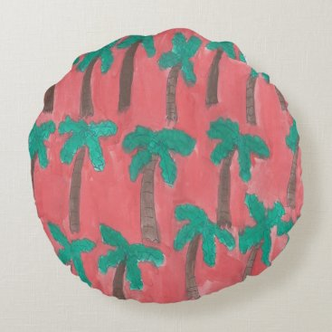 Beach Themed Watercolor Palm Tree Pattern Round Pillow