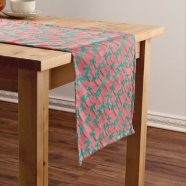 Beach Themed Watercolor Palm Tree Pattern Short Table Runner