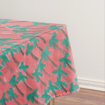 Beach Themed Watercolor Palm Tree Pattern Tablecloth