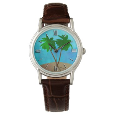 Beach Themed Watercolor Palm Trees Collage Watches