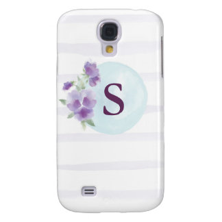 Watercolor Pansies and Stripes Galaxy S4 Case