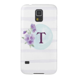Watercolor Pansies and Stripes Galaxy S5 Case