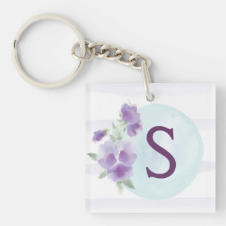 Watercolor Pansies and Stripes Square Keychain