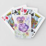 Watercolor pansies bicycle poker cards