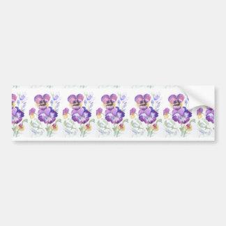Watercolor pansies bumper sticker