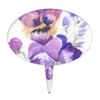 Watercolor pansies cake picks