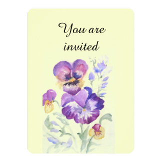 Watercolor pansies card