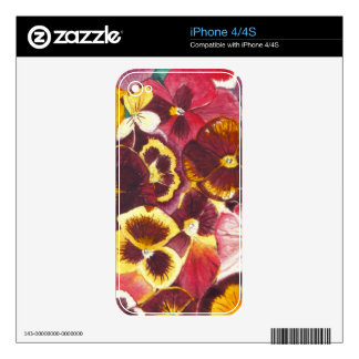 Watercolor Pansies Decals For The iPhone 4